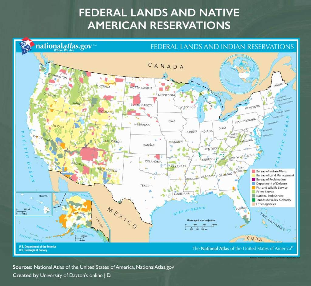 Map of federal lands and Native American reservations